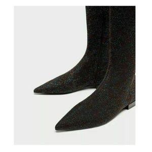 Zara Shoes - Zara Flat Glitter Black Over Knee Pointed Toe